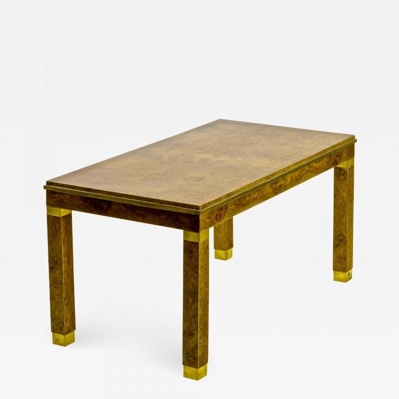 Art Deco Birdeye Burl Blond Coffee Table With Gold Bronze