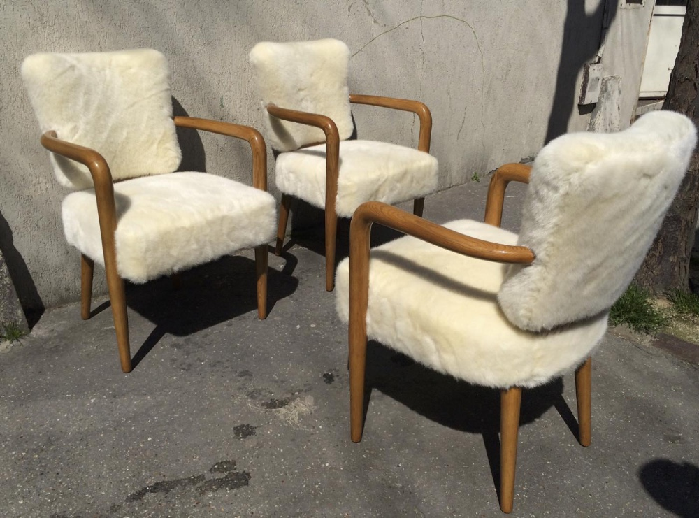 Brilliant Attributed Jean Royere Set Of 3 Desk Arm Chairs Chairs Ibusinesslaw Wood Chair Design Ideas Ibusinesslaworg
