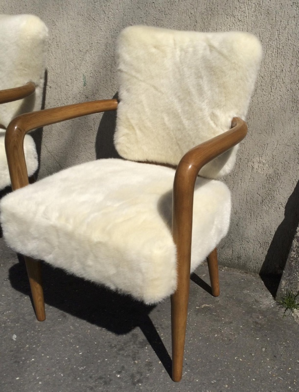 Incredible Attributed Jean Royere Set Of 3 Desk Arm Chairs Chairs Ibusinesslaw Wood Chair Design Ideas Ibusinesslaworg