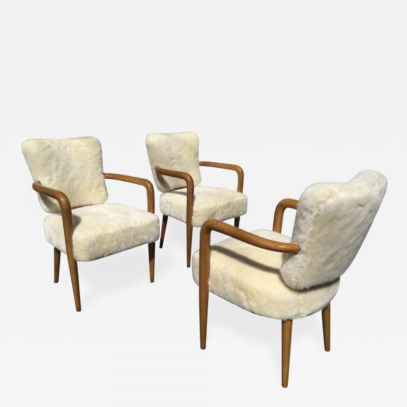 Amazing Attributed Jean Royere Set Of 3 Desk Arm Chairs Chairs Ibusinesslaw Wood Chair Design Ideas Ibusinesslaworg