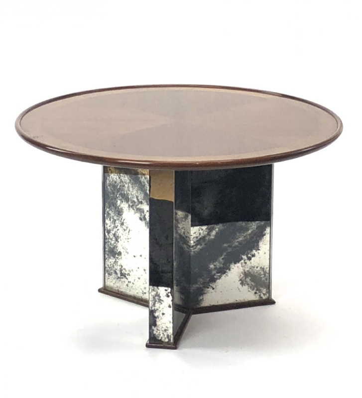 Mirrored Circle Coffee Table: Attributed Maxime Old Mirrored Base Round Coffee Table