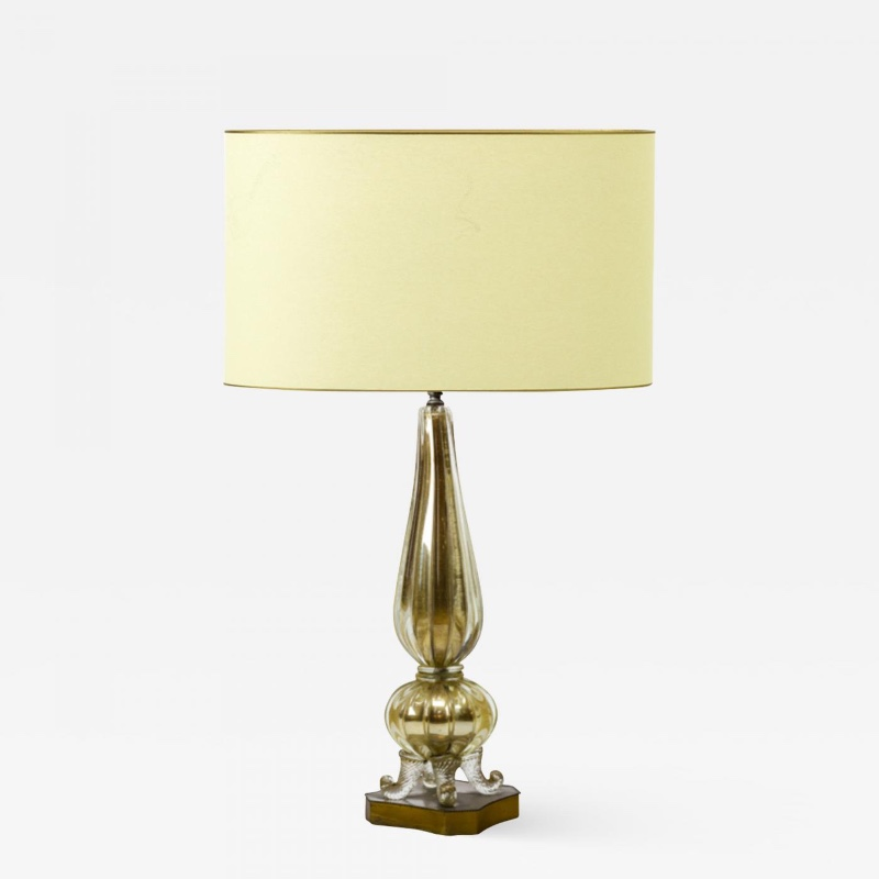 Murano Super Gold Mercury Glass Table Lamp With Gold Bronze