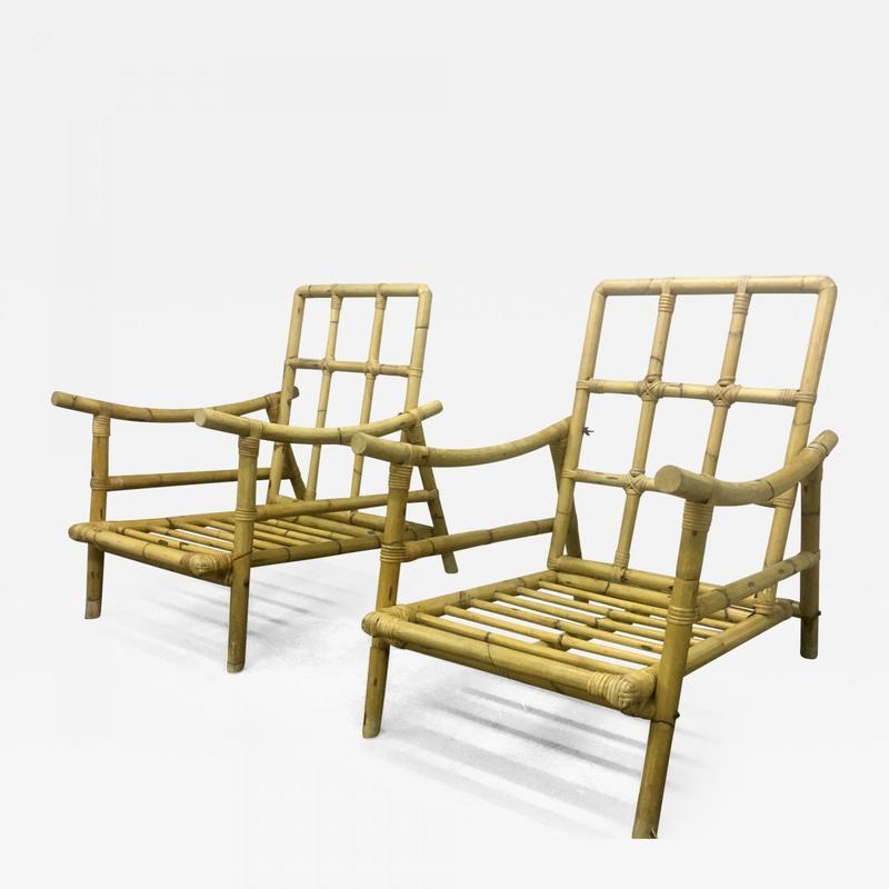 Riviera Style Bamboo Lounge Chairs