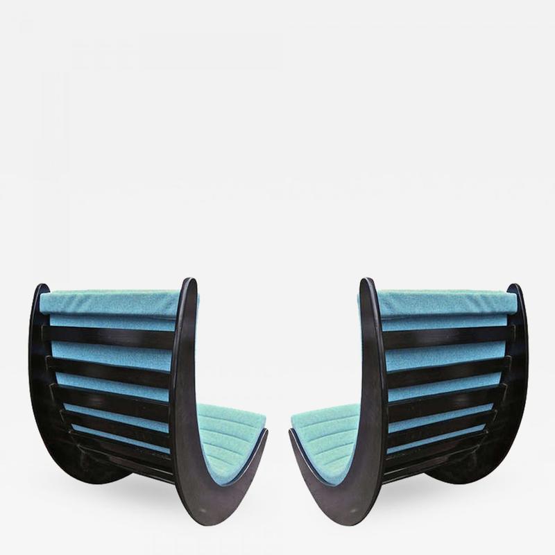 verner panton pair black rocking chairs rocking chair seating